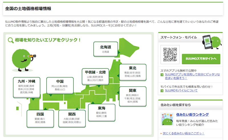 Suumo 全国の土地価格相場情報
