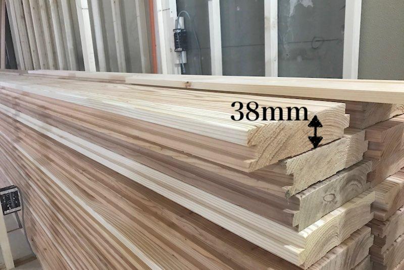 無垢材(音響熟成木材)の38mmが搬入