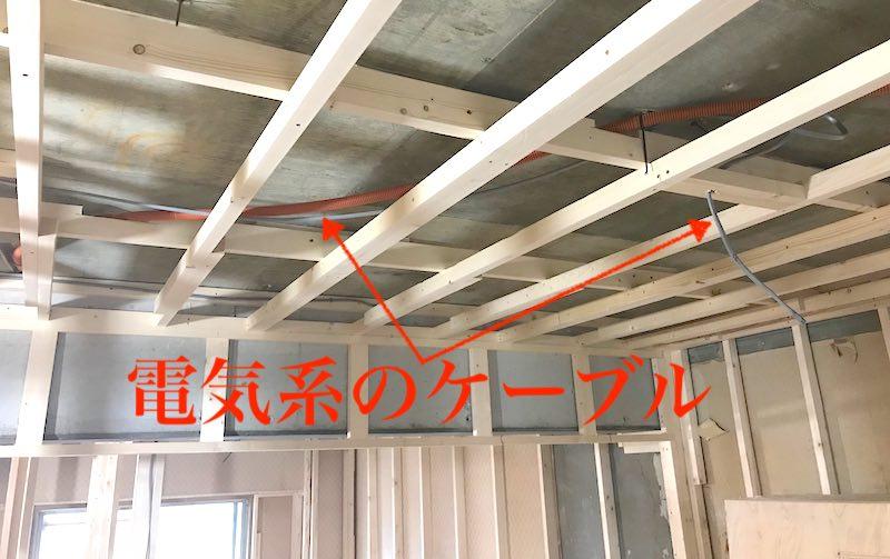 天井を少し下げてケーブルが通る隙間を作る
