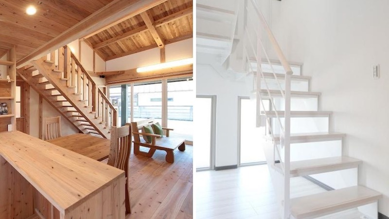 左)空気がうまい家®︎のスケルトン階段 右)一般的なスケルトン階段