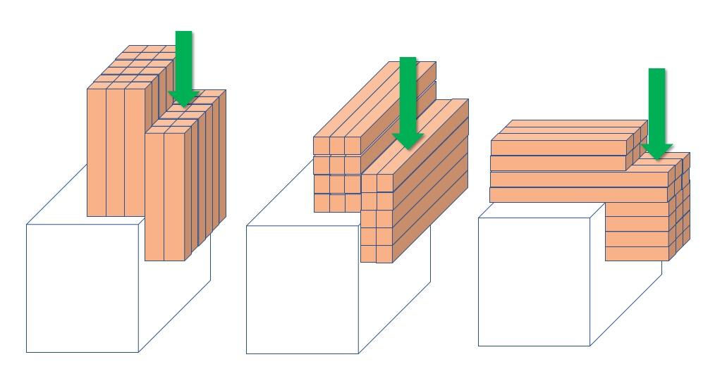 木の細胞の向きとせん断力との関係(イメージ図)